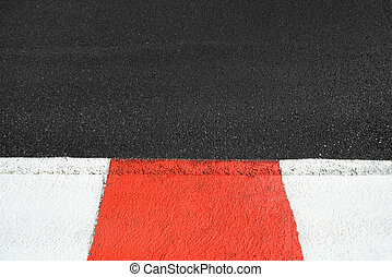 Texture of race asphalt and curb on Grand Prix circuit -...