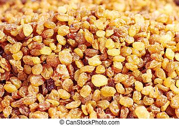 Texture of raisins close-up