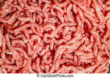 Texture of raw minced meat .