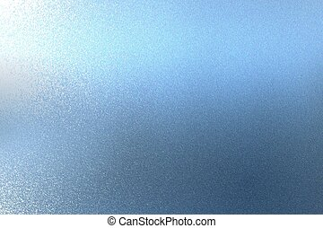 Texture of reflection on rough blue metallic wall, abstract background