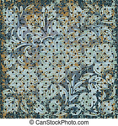 Texture of rusty metal mesh with floral ornament