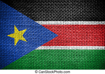 Texture of sackcloth with the image of the South Sudan Flag