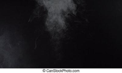Texture of smoky stream, 4k - White smoky cloud of...