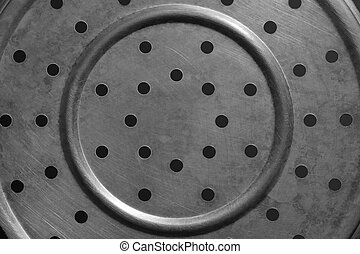 Texture of steel plate drilling holes in a circle.