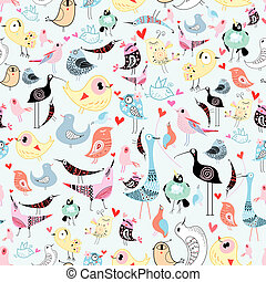 texture of the birds - bright cheerful seamless pattern of...