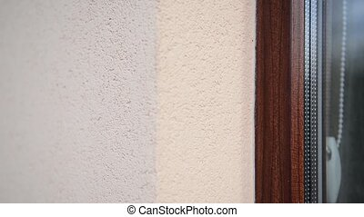 texture of the wall with gray handmade plaster - texture of...