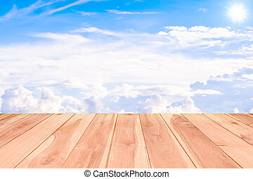 Texture of wood background closeup  textured on blue sky