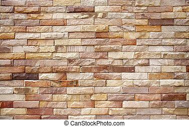 rough brick wall - texture of yellow-brown rough brick wall