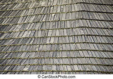 Texture old wooden shingles.