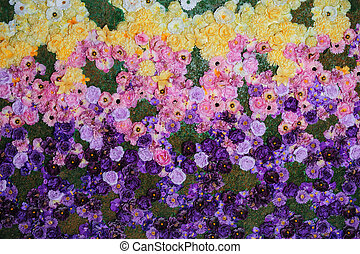 texture on a flowerbed of colorful flowers in the Park