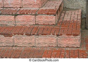 texture pierre, étapes, brun, béton