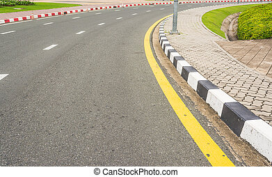 texture, route, raie jaune, asphalte