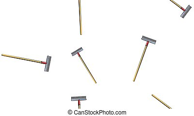 Texture, seamless abstract pattern of building garden metal wooden rake with barbs for repair, tool for cleaning grass and foliage on a white background. Vector illustration