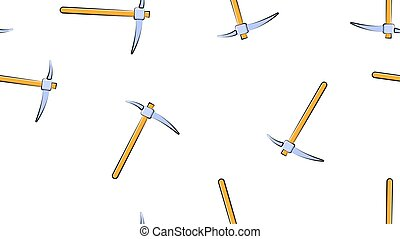 Texture, seamless abstract pattern of construction miner pickaxe with a wooden handle for repair, mining, excavation on a white background. Vector illustration