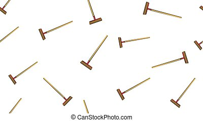 Texture, seamless abstract pattern of wooden construction mops, brushes with a wooden handle for repair, cleaning on a white background. Vector illustration