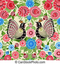 Texture seamless bird and flowers khokhloma