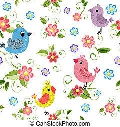 Texture seamless bird and flowers