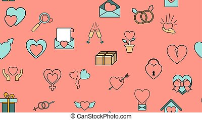 Texture seamless pattern from a set of love items with hearts and gifts for the holiday of love Valentine's Day February 14 or March 8 on a pink background. Vector illustration