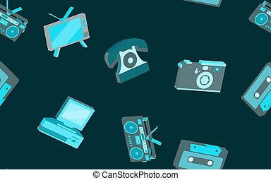 Texture seamless pattern from old vintage retro hipster stylish electronics appliances to home appliances 70s, 80s, 90s. The background. Vector illustration. Disco poster