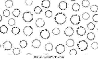 Texture seamless pattern of black round abstract carved metal beer caps with sharp edges for clogging beer bottles used in brewing gears on a white background. Vector illustration