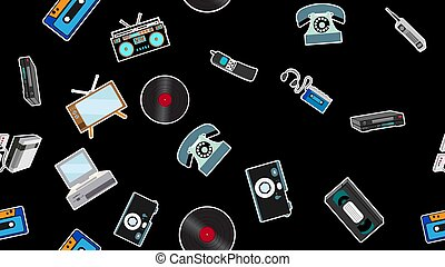 Texture, seamless pattern of old retro hipster electronics...