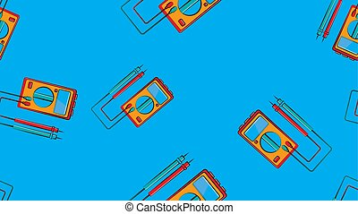 Texture, seamless pattern of red and yellow instruments for measuring the strength and voltage of an electric current, a multimeter, a tester, an electric tool on a blue background. Vector illustration