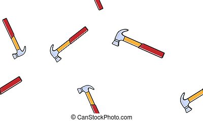 Texture, seamless pattern of red plumbing construction repair hammers for hammering nails on a white background. Vector
