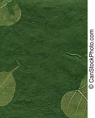 Texture Series - Green Paper with Leaves