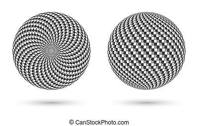 texture, sphère blanche, noir