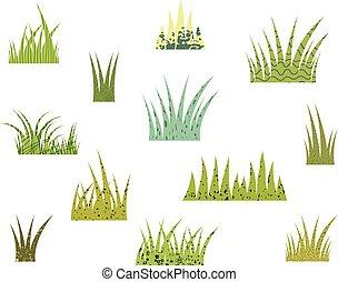 texture, stylisé, vecteur, arrière-plan vert, blanc, herbe, touffes