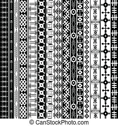Texture with ethnic geometrical ornaments, black and white...