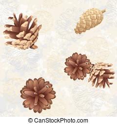 Texture with pine cones