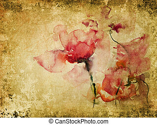 texture with watercolor roses - vintage background