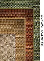 texture woven straw background green, beige, brown