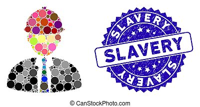 textured, ícone, escravidão, engenheiro, mosaico, selo