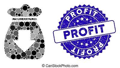 textured, ícone, lucro, selo, saco, mosaico