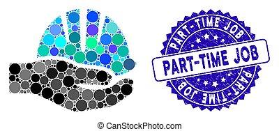 textured, ícone, mão, meio período, mosaico, selo, trabalho, capacete