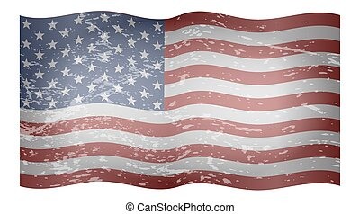 textured, アメリカ人, 波状, 旗