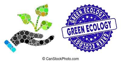 textured, エコロジー, 緑, 農業, アイコン, 手, プロジェクト, モザイク, シール