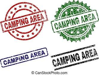 textured, キャンプ, 傷付けられる, 区域, スタンプ, シール