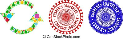 textured, シンボル, 年, シール, モザイク, 通貨, 変換器, 新しい, 新たにしなさい, 矢