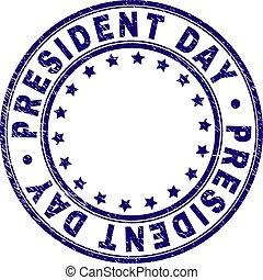 textured, ラウンド, 切手, 大統領, シール, グランジ, 日