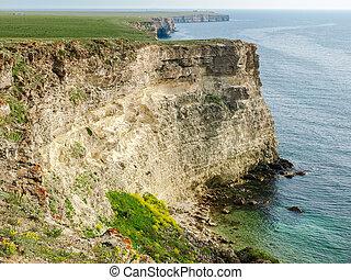 textured, 岩, 石灰岩, 急, 海岸, 海