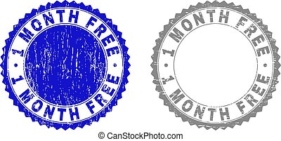 Textured 1 MONTH FREE Grunge Stamp Seals with Ribbon