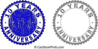 Textured 10 YEARS ANNIVERSARY Scratched Stamp Seals with Ribbon