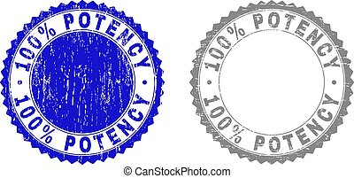 Textured 100% POTENCY Scratched Stamp Seals with Ribbon