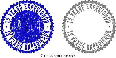 Textured 15 YEARS EXPERIENCE Scratched Stamps with Ribbon