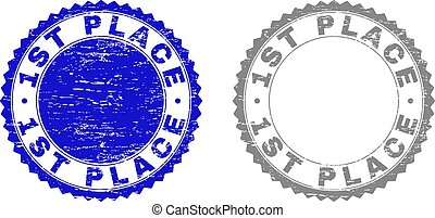 Textured 1ST PLACE Scratched Stamp Seals with Ribbon