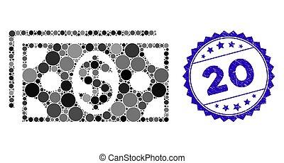textured, 20, notas, ícone, colagem, selo, dólar