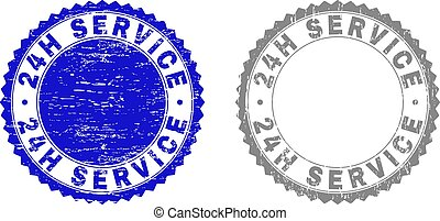 Textured 24H SERVICE Grunge Stamps with Ribbon - 24H SERVICE...